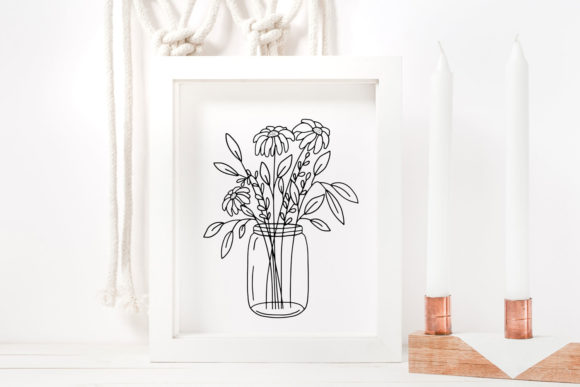 Download Free Mason Jar Floral Arrangement Graphic By Reddotshouse Creative for Cricut Explore, Silhouette and other cutting machines.