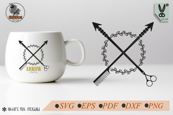 Download Free Scissor Arrow And Comb With Wreath Graphic By Rizuki Store for Cricut Explore, Silhouette and other cutting machines.