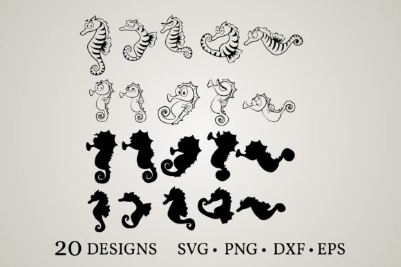 Seahorse Bundle Graphic Print Templates By Euphoria Design