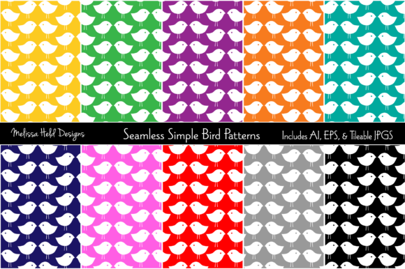Seamless Simple Bird Patterns Graphic Patterns By Melissa Held Designs
