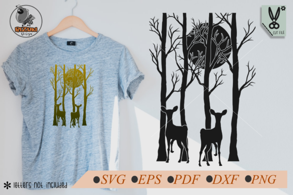 Download Free Silhouette Of A Deer In The Midnight Graphic By Rizuki Store for Cricut Explore, Silhouette and other cutting machines.