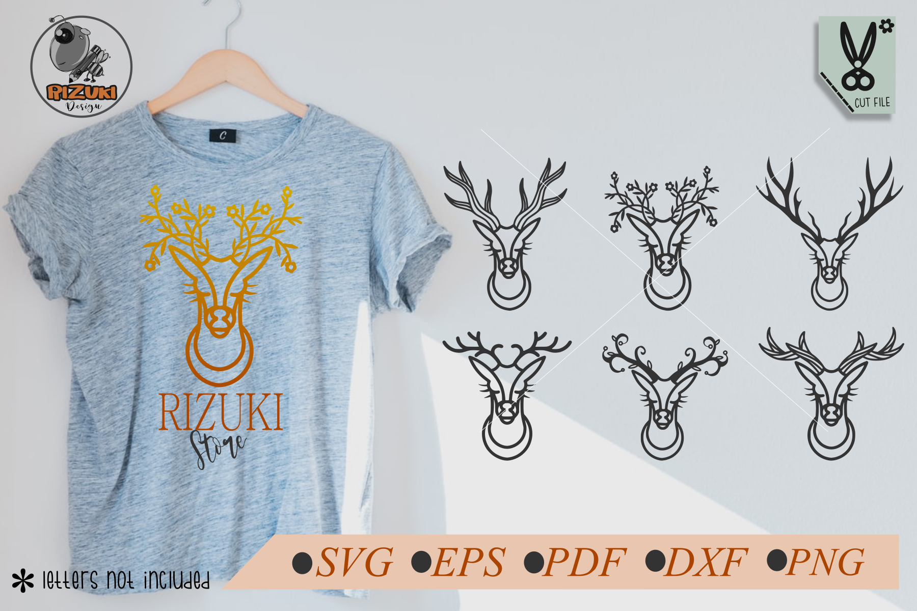 Download Free Six Deer Head Ornament Simple Line Art Graphic By Rizuki Store for Cricut Explore, Silhouette and other cutting machines.