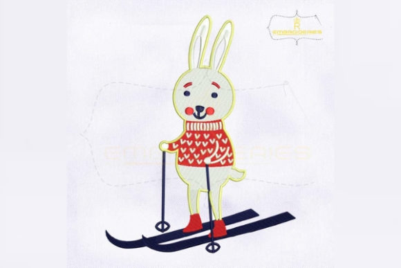 Skating Rabbit Christmas Christmas Embroidery Design By RoyalEmbroideries