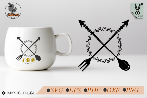 Download Free Spoon And Fork Arrows With Wreath Graphic By Rizuki Store for Cricut Explore, Silhouette and other cutting machines.