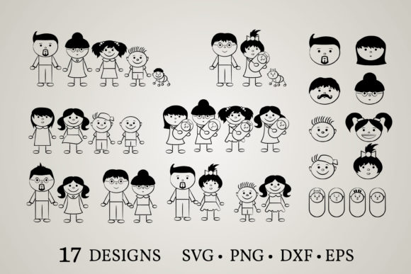 Stick Family Grafik Druck-Templates von Euphoria Design