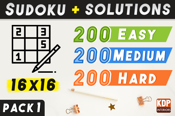 Print on Demand: Sudoku with Solutions 600 Grids | Pack 1 Graphic KDP Interiors By KDP Interiors