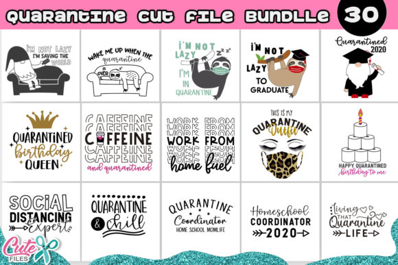 The Quarantine Bundle 30 Designs Graphic Illustrations By Cute files - Image 1