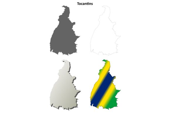 Download Free Tocantins Outline Map Set Graphic By Davidzydd Creative Fabrica for Cricut Explore, Silhouette and other cutting machines.