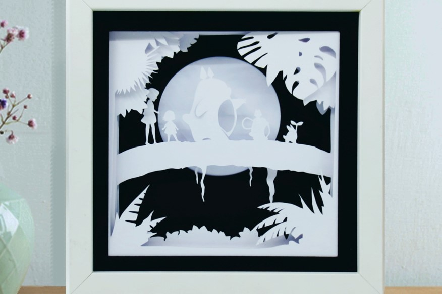 Totoro 3d Paper Cut Light Box Template Graphic By Kiyoni Creative Fabrica