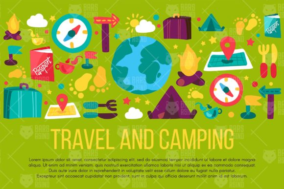 Download Free Travel And Camping Banner Graphic By Barsrsind Creative Fabrica for Cricut Explore, Silhouette and other cutting machines.