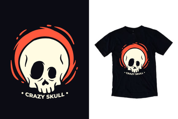 T-shirt Crazy Skull Illustration Graphic Print Templates By yazriltri