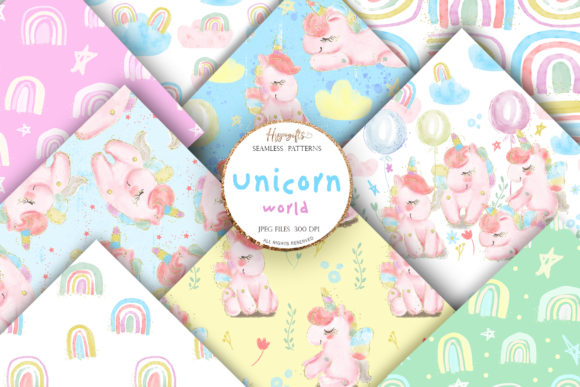 Unicorn Rainbow Patterns Gráfico Moldes Por Hippogifts