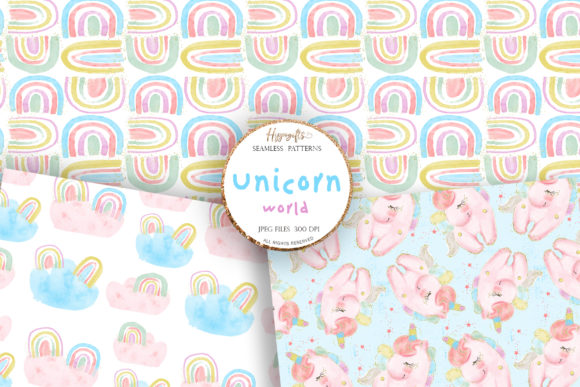 Unicorn Rainbow Patterns Graphic Patterns By Hippogifts - Image 3