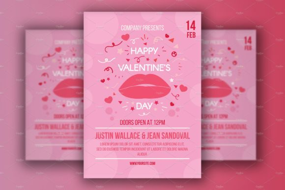 Valentine S Day Poster With Lips Graphic By Barsrsind Creative