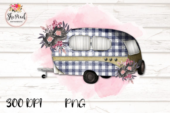 Print on Demand: Vintage Camper Clipart, Buffalo Check Graphic Illustrations By ShePixel