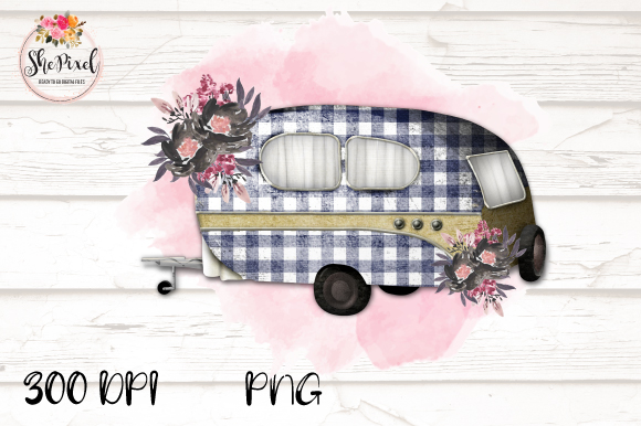Download Free Vintage Camper Clipart Buffalo Check Grafico Por Shepixel for Cricut Explore, Silhouette and other cutting machines.