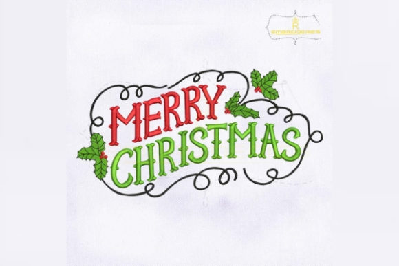 Vintage Merry Christmas Lettering Embroidery