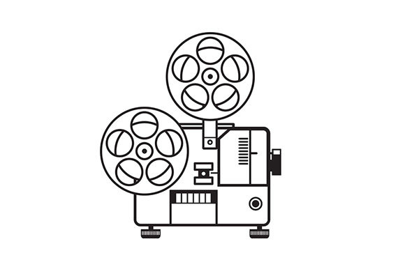 Download Free Vintage Movie Film Projector Retro Graphic By Patrimonio for Cricut Explore, Silhouette and other cutting machines.