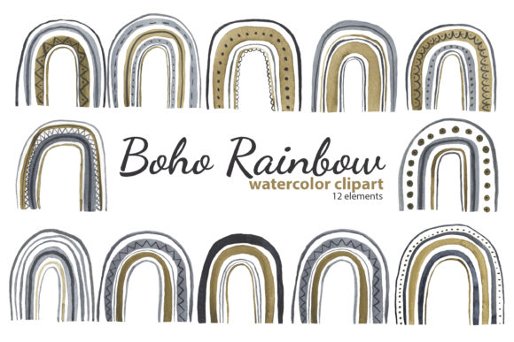 Print on Demand: Watercolor Boho Rainbow Clipart Graphic Illustrations By s.yanyeva