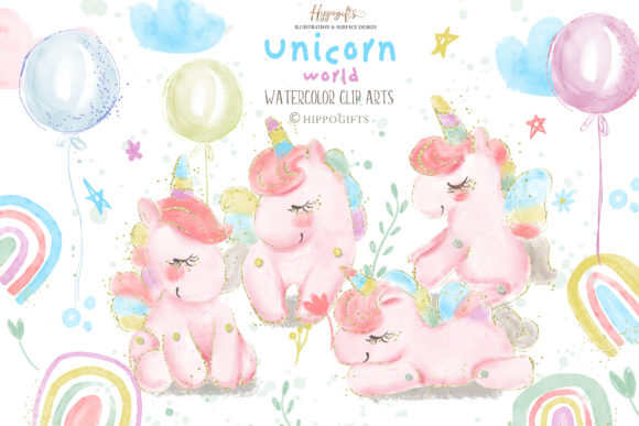 Watercolor Unicorn Rainbow Clip Arts Grafik Illustrationen von Hippogifts