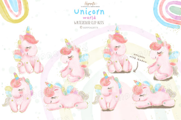Watercolor Unicorn Rainbow Clip Arts Graphic Illustrations By Hippogifts - Image 2