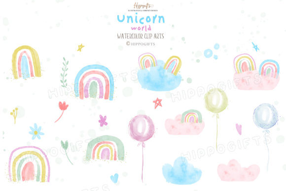 Watercolor Unicorn Rainbow Clip Arts Graphic Illustrations By Hippogifts - Image 3