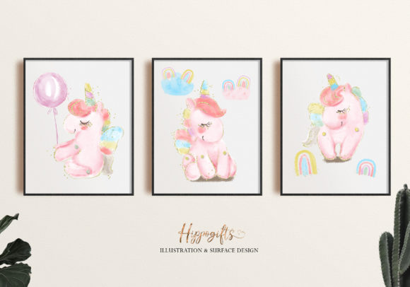 Watercolor Unicorn Rainbow Clip Arts Graphic Illustrations By Hippogifts - Image 5