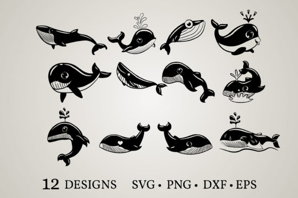 Download Free Whale Bundle Graphic By Euphoria Design Creative Fabrica for Cricut Explore, Silhouette and other cutting machines.