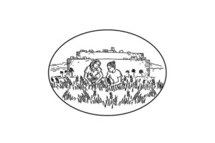 Download Free Women Gathering Wheat Outside Walled City Graphic By Patrimonio for Cricut Explore, Silhouette and other cutting machines.