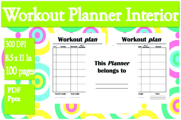 Print on Demand: Workout Planner Interior Graphic KDP Interiors By Ivana Prue