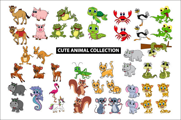 Download Free Big Collection Of Cute Animal Graphic By Curutdesign Creative for Cricut Explore, Silhouette and other cutting machines.