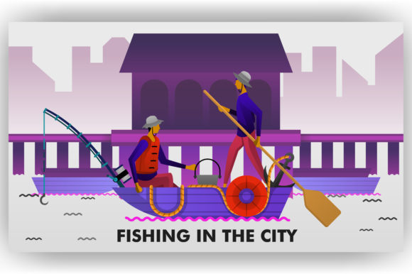 Download Free Illustration Of Fishermen Are Fishing Graphic By for Cricut Explore, Silhouette and other cutting machines.