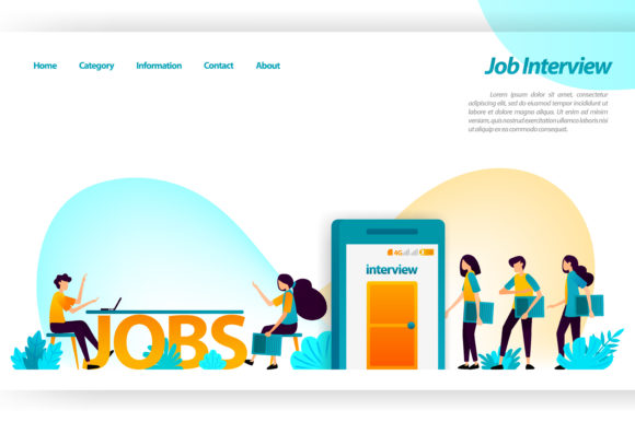 Print on Demand: Landing Page of Job Interview Apps Graphic Graphic Templates By setiawanarief111