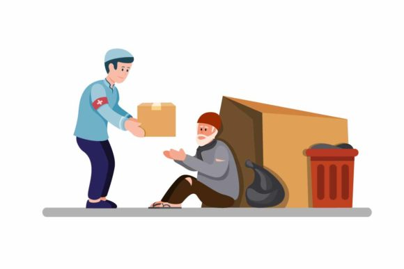 Print on Demand: Muslim Man Giving Food Box to Homeless Graphic Illustrations By aryo.hadi