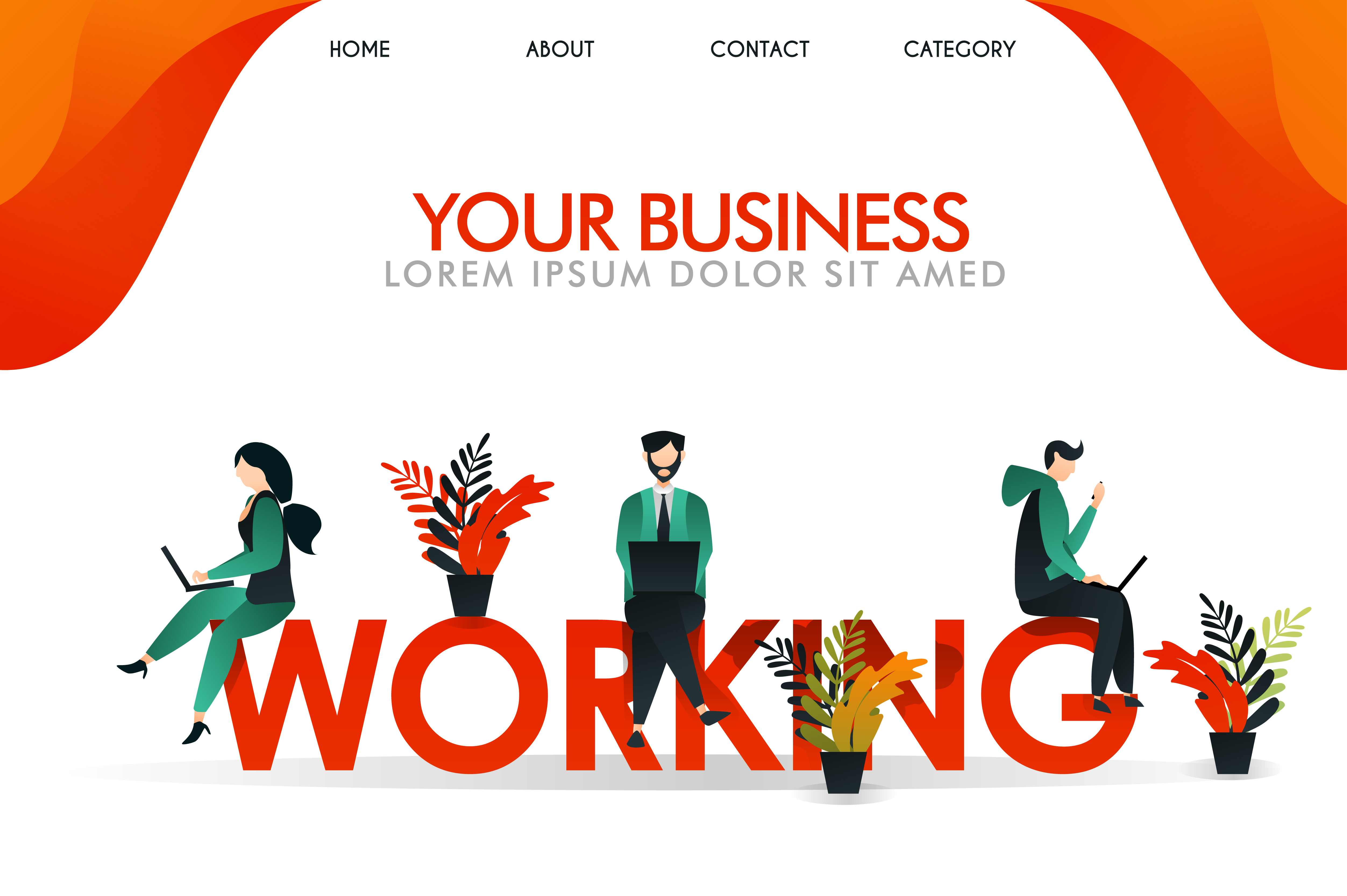 Download Free Vector Illustration Of People Working Graphic By for Cricut Explore, Silhouette and other cutting machines.