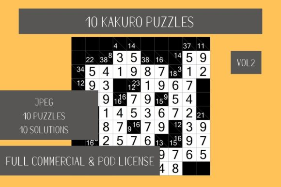 Download Free 10 Kakuro Japanese Puzzle Vol 2 Graphic By Fleur De Tango for Cricut Explore, Silhouette and other cutting machines.