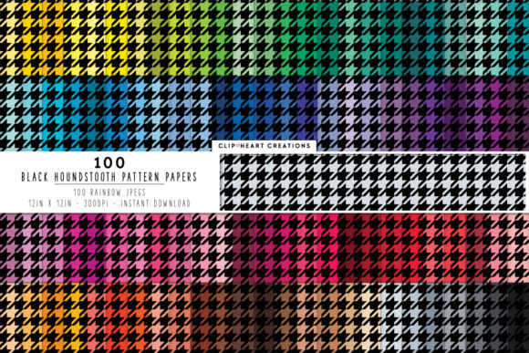 100 Black Houndstooth Papers Graphic Backgrounds By clipheartcreations