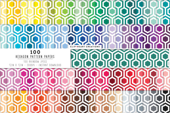 Download Free 100 Hexagon Pattern Papers Graphic By Clipheartcreations for Cricut Explore, Silhouette and other cutting machines.