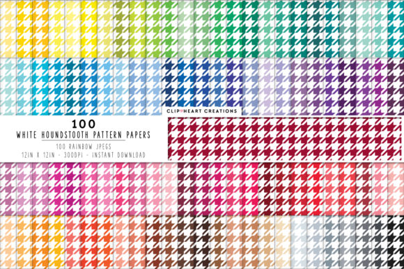 100 Houndstooth Papers Gráfico Fondos Por clipheartcreations