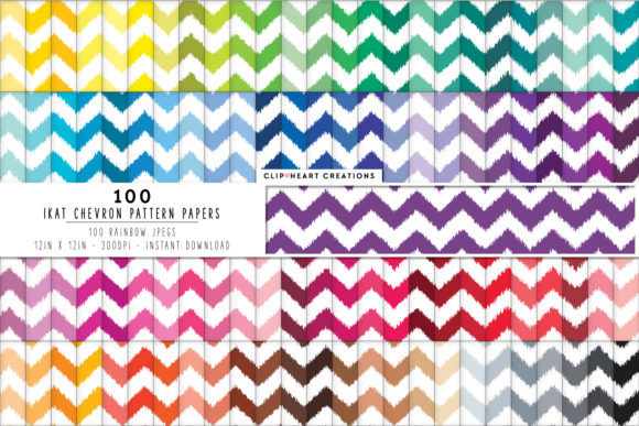 100 Ikat Chevron Pattern Papers Graphic Backgrounds By clipheartcreations