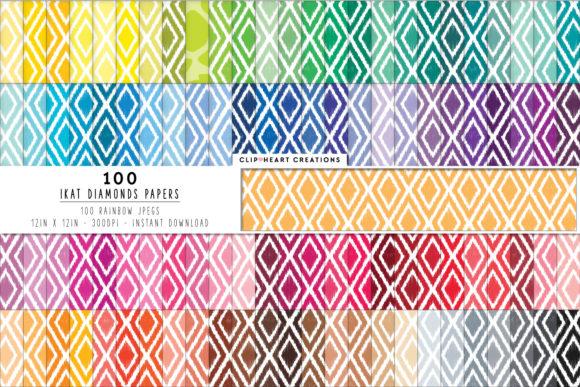 100 Ikat Diamonds Paper Graphic Backgrounds By clipheartcreations