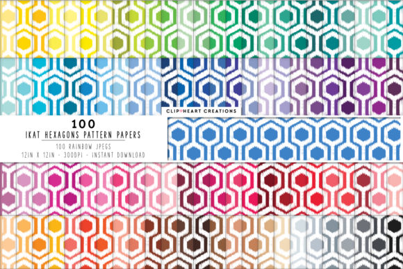 Download Free 100 Ikat Hexagon Pattern Papers Graphic By Clipheartcreations for Cricut Explore, Silhouette and other cutting machines.