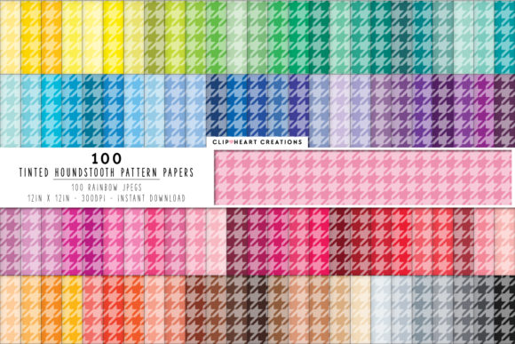 100 Tinted Houndstooth Papers Graphic Backgrounds By clipheartcreations