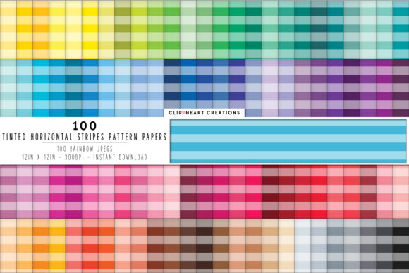 100 Tinted Striped Papers Graphic Backgrounds By clipheartcreations