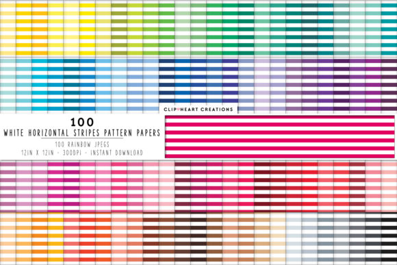 100 White Striped Papers Graphic Backgrounds By clipheartcreations