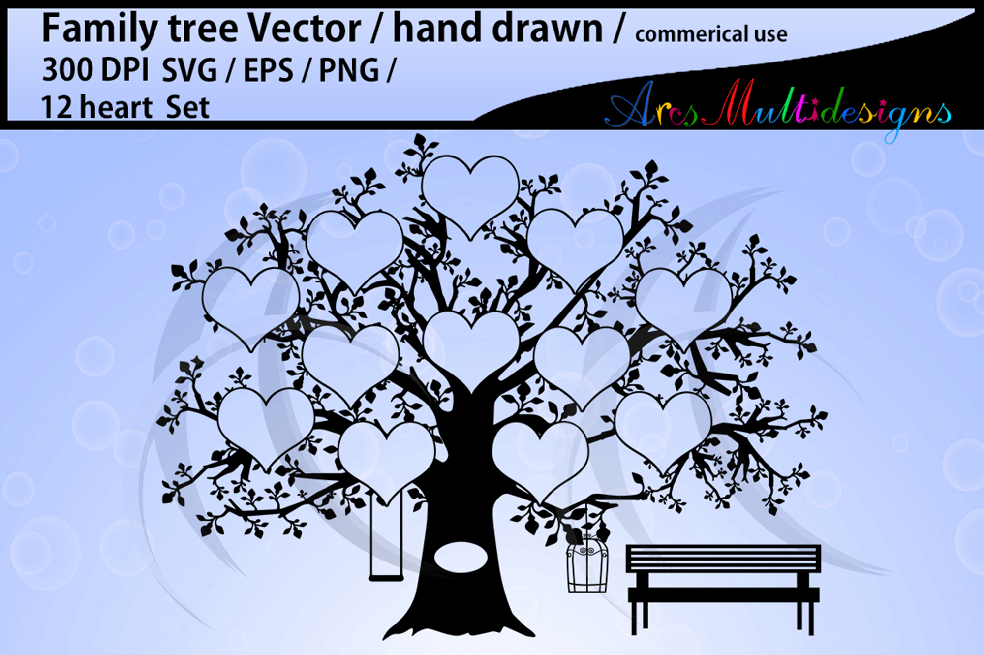Download Free 12 Spots Family Tree Template Graphic By Arcs Multidesigns for Cricut Explore, Silhouette and other cutting machines.
