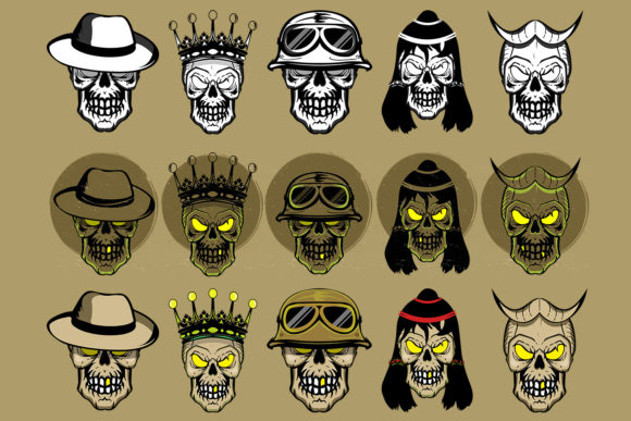 Download Free 15 Collection Of Skull Illustration Graphic By Damasyp for Cricut Explore, Silhouette and other cutting machines.