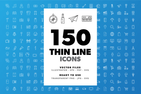 Download Free 150 Thin Line Icons Graphic By Borisfarias Creative Fabrica for Cricut Explore, Silhouette and other cutting machines.