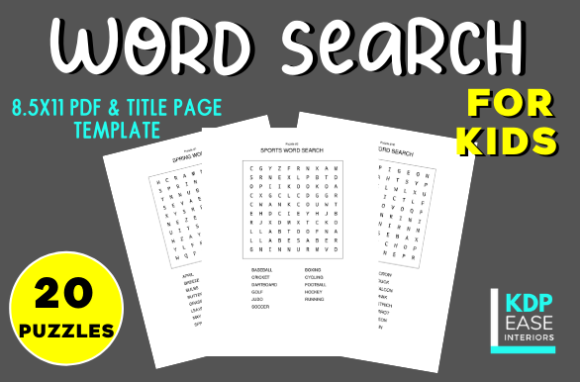 Download Free 20 Word Search Puzzles For Kids Vol 1 Graphic By Kdp Ease for Cricut Explore, Silhouette and other cutting machines.