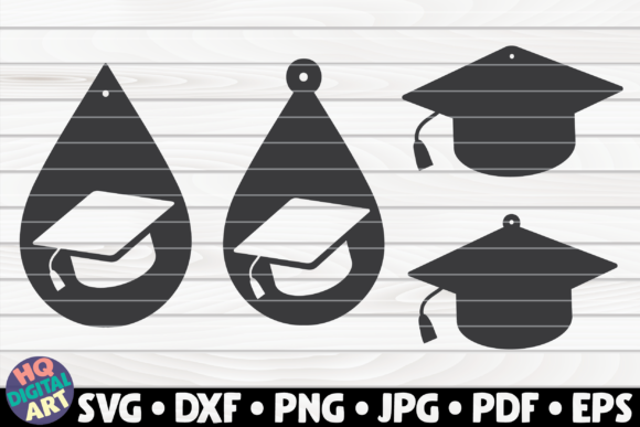 Download Free 4 Graduation Teardrop Earrings Graphic By Mihaibadea95 for Cricut Explore, Silhouette and other cutting machines.